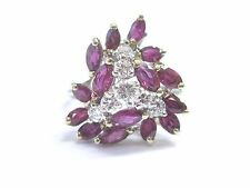 Fine Gem Ruby Diamond 2-Tone Gold Cluster Jewelry Ring 14Kt 1.50Ct