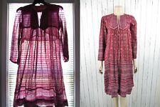 New listing Vintage 70s Sheer India Metallic Gauze Quilted Boho Dress Block Print Large L