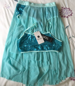 Iefiel 2 Piece Dance Costume.Size 7/8.Lake Blue With Sequins
