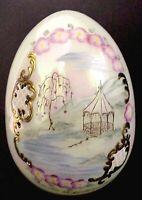 Fenton Art Glass Iridized Opal 5 Inch Gazebo Scene Blown Glass  Egg  MIB 1991