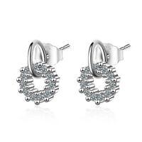 Genuine 925 Sterling Silver Rhinestone Crystal Round Ear Stud Earrings Jewelry