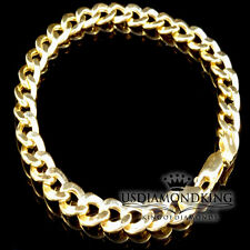 NEW MEN'S WOMEN'S 100% REAL 10K YELLOW GOLD CUBAN CURB LINK BRACELET 7MM/9.9g/9""