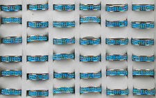 50stk vente en gros bijoux Lots Bagues Acier inoxydable bleu rempli strass Ring dh172