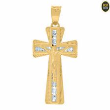 Cross Religious Charm Pendant Mens 14kt Yellow Gold Cubic Zirconia Crucifix