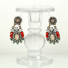 Costume Fashion Earring Stud Multicolor Coral Blue White Oval Flower Retro X8