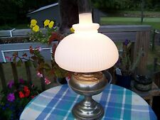 Antique Rayco Nickel Hurricane Lamp W/ Milk Glass shade Electrified