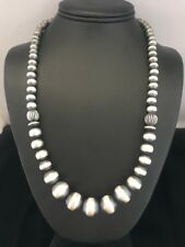 Native American Sterling Silver Graduated Navajo Pearls Bead Necklace  22 Inch
