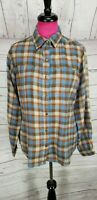 Woolrich Shirt Size M Womens Brown Blue Bluebell Flannel Plaid Snap Long Sleeve