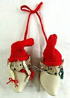 Dutch Clogs with Christmas Mice Shoes Hanging Burlap Wall Décor