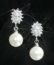 Freshwater Pearl Drop/Dangle White Gold Fine Earrings