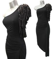 KAREN MILLEN Black Embellished One Shoulder Classy Rare Formal Dress UK10  EU38