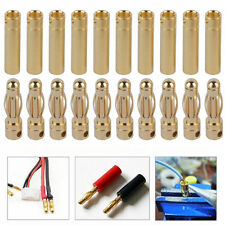 10 Pairs 4mm Gold Welding Bullet Connector Banana Plugs Adapter + Shrink Tubing