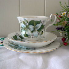 """ROYAL ALBERT FLOWER OF THE MONTH -  """" TRILLIUM """" TRIO PLATE, CUP & SAUCER SET"""