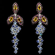 Große Ohrringe Tansanit Saphir gelb Rubin 925 Silber 585 weißvergoldet