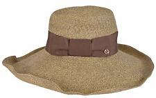 NEW Gucci Women's Brown 309138 $435 Wide Brim Floppy Interlocking GG Hat Medium