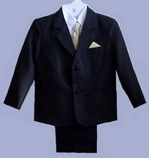 BOYS BLACK WEDDING RING BOY SUIT TUXEDO GOLD VEST SZ 0