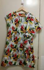 NEW Tropicana Banana & Pinapple shift dress with cascade flounce, size 12