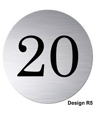 75mm Text or Number Round Brushed Silver Aluminium Flat / Door Plaque/sign