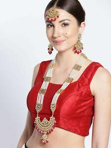 Indian Bangladeshi Kundan Fashion Party Wear Women Gold Plated Long Necklace Set