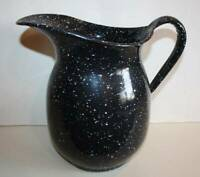 Vtg Large Dark Blue White Speckled Enamel Milk Navy Pitcher USN The Vollrath Co