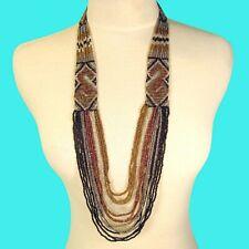 "36"" Waterfall Metallic Colors Multi Strand Handmade Seed Bead Statement Necklace"