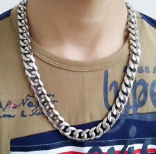 15mm 28 inch Men's Stainless Steel Heavy Curb Chain Link Chain Necklace Jewelry