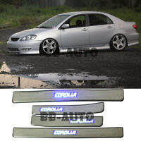 For 03-08 Toyota Corolla Blue LED Door Step Trim Stainless Sill Scuff Plate x4