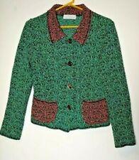 Willow Women's Medium Sweater Jacket Blazer Button Front Green Boucle Cotton