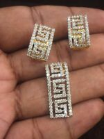 Pave 1,90 Cts Rund Brilliant Cut Diamanten Anhänger Ohrringe Set In 585 14K Gold