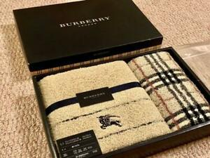 Burberry Face Towel Wash Hand Towel Cotton Set of 2 Nishikawa made in japan NEW