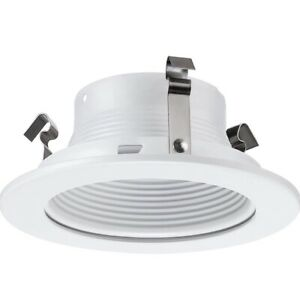 4 Inch Stepped Baffle LED Trim, Bulb Light Cover, for 4 in. Recessed Ceiling Can
