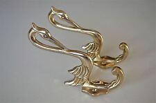 Pair of beautiful Arts & Crafts brass heron coathook wall door hanger hook AL76
