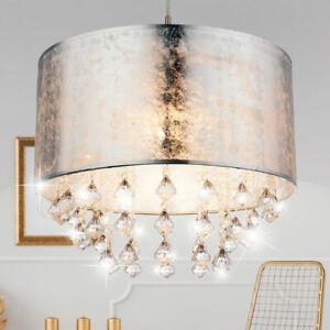 Decken Lampe Ess-Schlafzimmer Kronleuchter Textil Kristall Behang Hänge Leuchte
