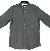 CALIBRE Men's Size XL Black White Striped Tailored Button Up Long Sleeve Shirt