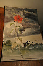 Red Hibiscus Water Colour Painting by Anthony Brown