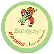 Air India  Intl. Airlines (Bombay)  Vintage-Looking  Sticker/Decal/Luggage Label