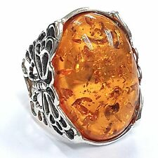 ART NOUVEAU STYLE HONEY AMBER BUTTERFLY  RING 925 STERLING SILVER SIZE - 7