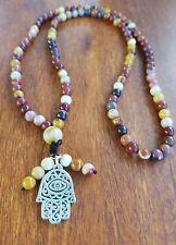 Silver925 Hamsa Hand Mala Beads Mookaite Prayer Meditation Yoga Relaxation