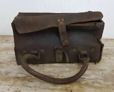 Antique WW1 Metal Lined Leather Ammunition Carry Bag with Handles A/F