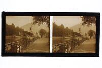 Annecy Wharf Jules Philippe Francia Foto Placca Da Lente Stereo Vintage 1929