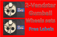 "2 PACK Vendstar Vending Machine 1"" Gumball Wheel Sets With FREE LABELS"
