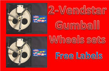 """2 PACK Vendstar Vending Machine 1"""" Gumball Wheel Sets With FREE LABELS"""