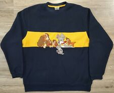 Vintage Disney Store Lady And The Tramp Fleece Sweatshirt Embroidered M Medium