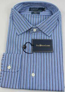 Polo Ralph Lauren Dress Shirt Mens 17.5 44 Regent Fit Blue White New