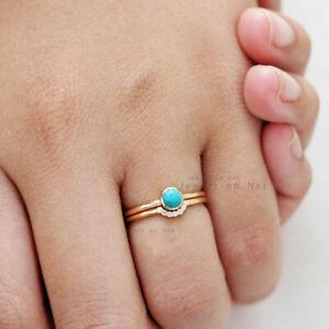 Genuine Turquoise Gemstone Wedding Ring Set 14k Yellow Gold Diamond Handmade