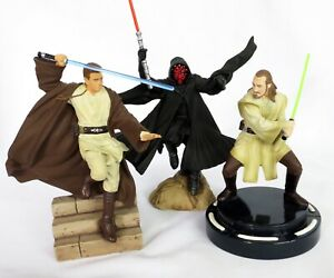 Applause Resin Darth Maul, Qui-Gon Jinn, & Obi-Wan Kenobi Statues Episode 1 1999