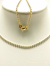 18k Two Tone Gold Sparkle Mooncut Beaded Necklace/ Chain 5.67 Grams