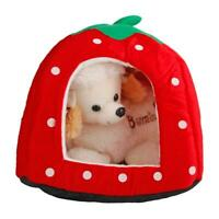 Cute Strawberry Pet Dog Cat Bed House Kennel Puppy Cushion Pad Nest Yurt US