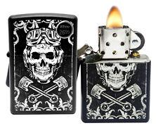 Zippo 29088 Skull Wrenches White Black Matte Finish Windproof Pocket Lighter New