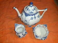Royal Copenhagen Fluted Full Lace Teapot & Lid Blue White 1119 Creamer & Sugar